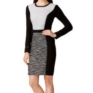 Rachel Roy Long Sleeve Sheath Dress Mixed Media 14